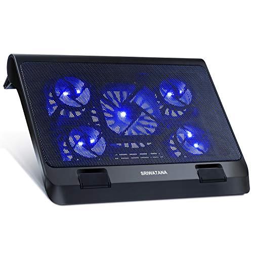 SRIWATANA ノートパソコン 冷却ファン 冷却パッド 冷却台 超静音 USBポート2口 LED搭載 USB接続 17インチ型まで対応 5ファン ブルー
