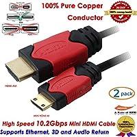 Fyl 2x 6ft v1. 4HDMI to Mini HDMIケーブルコードアダプタ1080pのHDTVカメラビデオカメラ