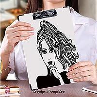 クリップボード A4サイズ対応 レンジップボード ファイルボードポニーテールの髪型と大胆な化粧とマニキュアと美しさのベクトル図と美しい女性 (2パック)