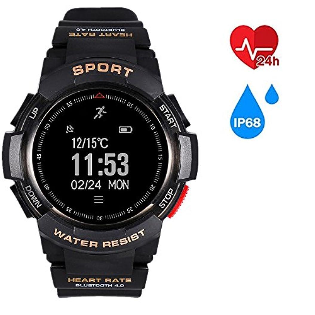 生きるお金科学f6 Bluetooth 4.0スマートリストバンドハートレートモニター歩数計ip68スポーツスマートウォッチスポーツブレスレット腕時計インテリジェント ブラック