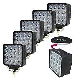 Amilliastyle LED 作業灯 ワークライト 48W 12V 24V 広角 防水 16連 角型 5個セット 1年保証(48W-S*5)