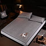 より厚いマット籐シートスリーピース1.8mベッド夏1.5メートル若いと老いのためのばらのない自然な折り畳み式マットセーフ(枕カバー付き) Xuan - worth having (サイズ さいず : 150*195cm) 画像