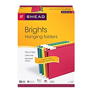 Hanging File Folders, 1/5 Tab, 11 Point Stock, Letter, Assorted Colors, 25/Box (並行輸入品)