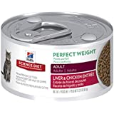Hill's Science Diet Adult Perfect Weight Wet Cat Food, Liver & Chicken Entrée Canned Cat Food for Healthy Weight and Weight Management, 82g, 24 Pack