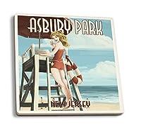 Asbury Park , New Jersey–ライフガードPinup Girl 4 Coaster Set LANT-44462-CT