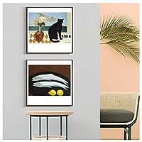 漫画黒猫魚現代装飾絵画キャンバス壁アートポスター用ホームホテルオフィスインテリア50×50センチ×2非フレームウォールアート