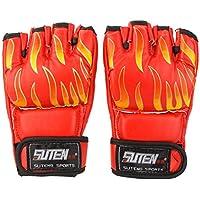 ボクシング手袋, SUTEN PU MMA専門的な炎ムエタイトレーニング 格闘技 ミットサンドバッグパンチングスパーリングボクシング手袋 ハーフフィンガー 赤