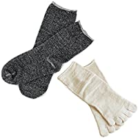 hiorie(ヒオリエ) 日本製 冷えとり靴下 内絹外綿ソックス <Mサイズ> 2足セット 5本指+カバーソックス 杢チャコール シルク