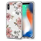 【Spigen】 iPhone X ケース, [ TPU ケース ] [ Qi 充電 対応 ] [ 超薄型 超軽量 ] [ 花柄 ] リキッド・クリスタル アイフォン X 用 カバー (iPhone X, アクアレール・ローズ)