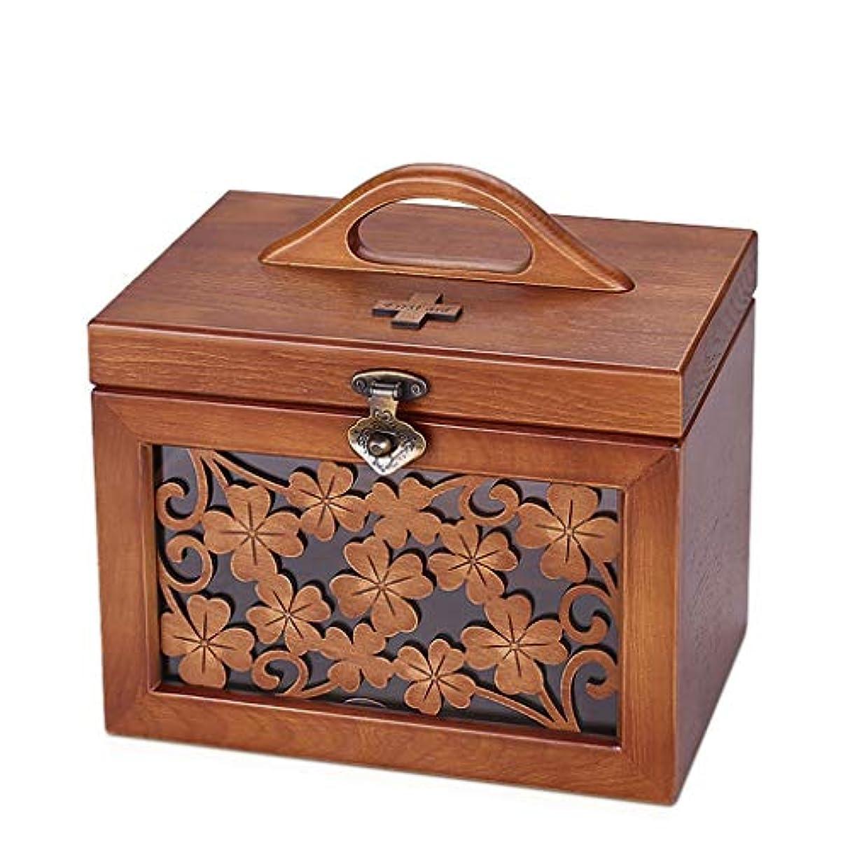 ピザハック通行料金CQ 木製の医学箱家庭用小型応急処置キット医療用品家族医学医薬品保管ボックス大容量