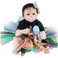 Dirance 22インチ 生きているようなリボーンドール スリーピングソフトシリコンパーツ ボディ リアルなクリスマスガールドール ビニール製 本物そっくり 新生児 ベビードール衣装 子供用ギフト 3歳以上 100ドル以下 (1個)