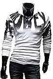 (M, ホワイト)(フルールアンフェ)FleurUneffe メンズ Tシャツ 長袖 襟付き ロンT かっこいい おしゃれ カジュアル スポーツ ゴルフ 赤 グレー レッド M L XL