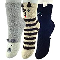 K MASANIJI Womens Winter Warm 3D Cute Animal Socks with Bottom Rubber Gripers Plush Fuzzy Sleeping Socks Free Size 3 Pack
