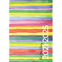 2021-2025 A5 Five Year Diary | Modern Rainbow Watercolour: UK Month to View Diary / Personal Planners, Organiser, Calendar / Minimal Agenda (5 year / 60 Month) moon phases, tabs, birthdays, notes