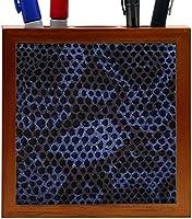 Rikki Knight Blue Python Snake Skin Design 5-Inch Tile Wooden Tile Pen Holder (RK-PH9245) [並行輸入品]