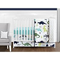 Navy Blue and Green Modern Dinosaur Baby Boys or Girls 11 Piece Crib Bedding Set without Bumper [並行輸入品]