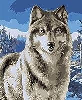 数字でDiy油絵、数字キットでペイント - 動物のオオカミ16 * 20インチリネンキャンバス - 大人のためのデジタル油絵壁アートアートワーク上級子供シニアジュニア