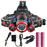 ZHENWEI 防水LEDヘッドライト 8000ルーメン 充電式 18650電池付属 赤