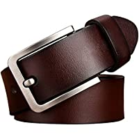 """JingHao A18 Casual Belts for Men Genuine Leather Belt for Jeans & Dress Black Brown Big and Tall Size 28""""-63"""""""
