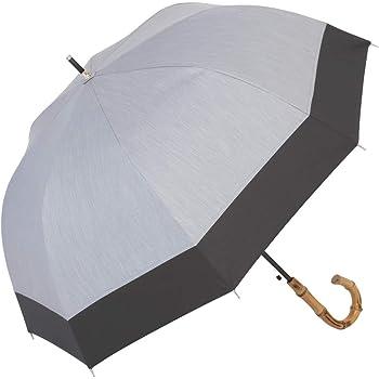 日傘 UVカット 遮熱 遮光 ジャンプ傘 晴雨兼用 遮光1級 ラミネート生地 クールプラス 【LIEBEN-1514】 (シャンブレーグレー×ブラック)