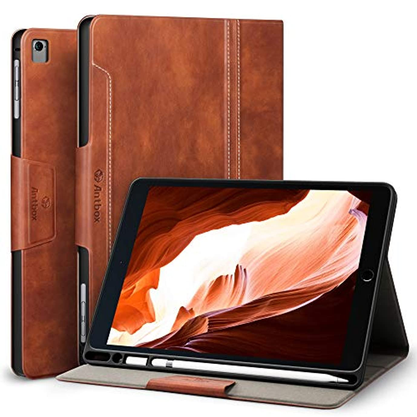 影のあるパラシュート住居iPad Air2 ケース/iPad Air ケース/iPad Pro 9.7 ケース 高級PUレザー、アップルペンシル収納可能、オートスリープ&スタンド機能付き、ひび割れ防止 スマートケース カバー、Apple iPad Air 2/Air/Pro 9.7など9.7 inch タブレット兼用手帳型保護カバー (ブラウン)