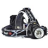 ★単3電池で使用可能★1200ルーメン LEDヘッドライト 角度調整 ズーム付き