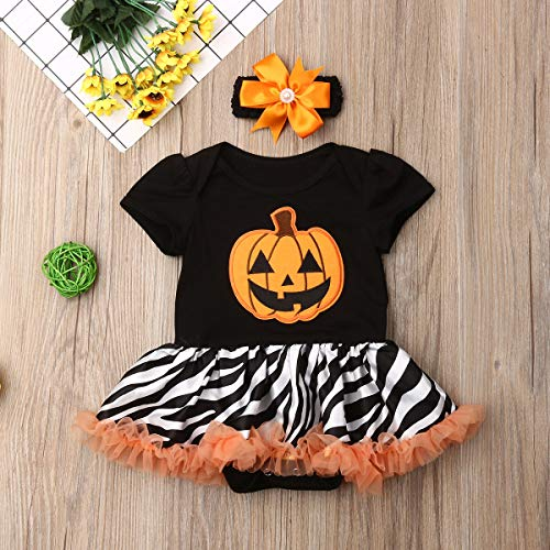 niceclould Baby Girl Halloween Costumes Skull Short Sleeve Shirt Top Pumpkin Tutu Skirt Bowknot Dress Toddler Kid Outfits Clothing (Halloween Black Stripe Bodysuit Dress+Headband, 18-24 Months)