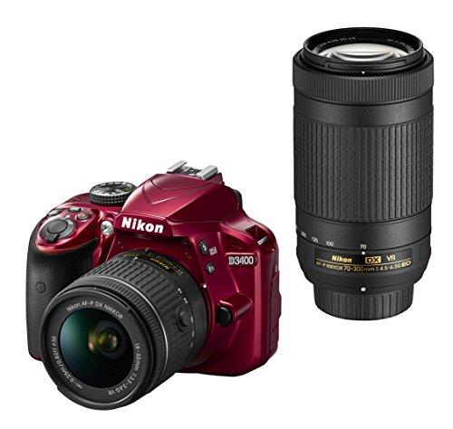 Nikon デジタル一眼レフカメラ D3400 ダブルズームキット レッド D3400WZRD クリーニング クロス付き