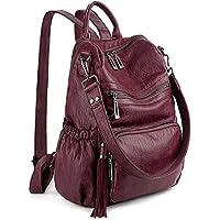 UTO Women 3 Ways Backpack Ladies PU Washed Leather Daypack Rucksack Shoulder Bag Multi Compartment Sturdy Zipper Back Anti Theft Pocket Tassels Decoration
