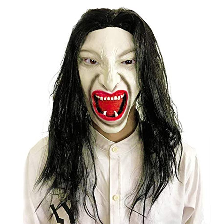 スキー助けてドアミラーブルネットホラー白い顔のマスク悪魔の血の口の吸血鬼怖いハロウィーンの性能かつらマスク小道具