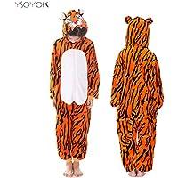 Pajamas Kids Animal Children Pajamas for Boys Girls Costume Baby Pyjamas Kids Onesies Winter Sleepwear Hyococ (Color : Tiger, Size : 10)