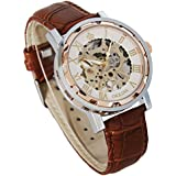 GuTe出品 スケルトン スティームパンク 男女 可愛らしい スタイリッシュ 革バンド 上品 カジュアル アンティーク風 ビンテージ ローズゴールドにホワイト 手巻き腕時計