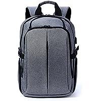 Laptopバックパック、kalidi防水デイパックUSB充電ポート付きノートパソコン用最大17インチ、グレー
