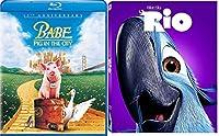 Dreamworks Rio & Babe Pig on the City Movie Blu Ray Animated Bundle Cartoons Family movie Set