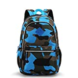 EASTPAK Medium-Sized Backpack for Junior Grade or Preschool Kindergarten Kids Boys Girls (Camo Blue) by MIFULGOO