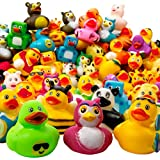 Kicko Assorted Rubber Duckies - 100 PC Bath Floater - Baby Showers Accessories - Bulk Ducks for Kids - Easter Party, Halloween Party Favors, Rubber Ducks Supplies and Favors