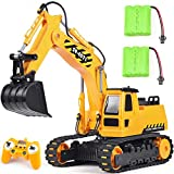 DOUBLE E Remote Control Excavator Toy Truck Rc Construction Vehicles For Boys Girls Kids Rc Tractor With Working Sounds Rechargeable Battery