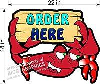 Crab/シーフードDiecut Plexiglass Signs Pick Up Here & Order Here