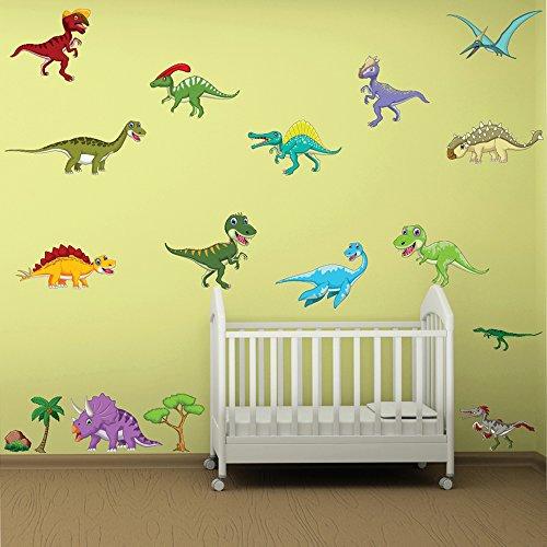 恐竜ウォールステッカーセットTriceratops Tレックス壁デカール子供部屋ホーム装飾で使用可能な8サイズ 06. XX-Large 110cm (W) x 80cm (H)