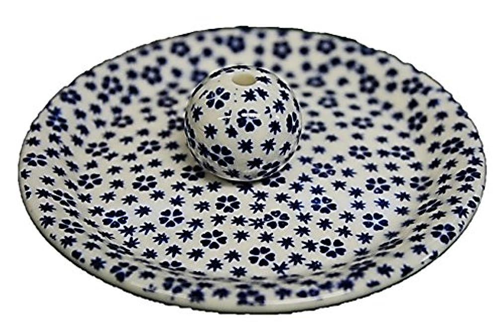 ベールスピーカーオーバーフロー9-39 桜小紋 青 9cm香皿 お香立て お香たて 陶器 日本製 製造?直売品