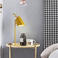 RXY-101 北欧寝室のベッドサイドランプロマンチックなシンプルな家庭用鹿ヘッドウェディングルーム小さなテーブルランプ (Color : 黄)
