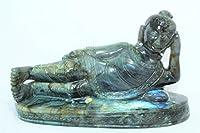 Rajasthan Gems天然ラブラドライトストーン仏教神Sleeping Buddha図Idol Decorative。。