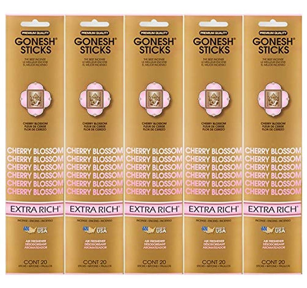 締め切り否認する警官Gonesh Incense Sticks Extra Richコレクション – Cherry Blossom 5パック(合計100 )
