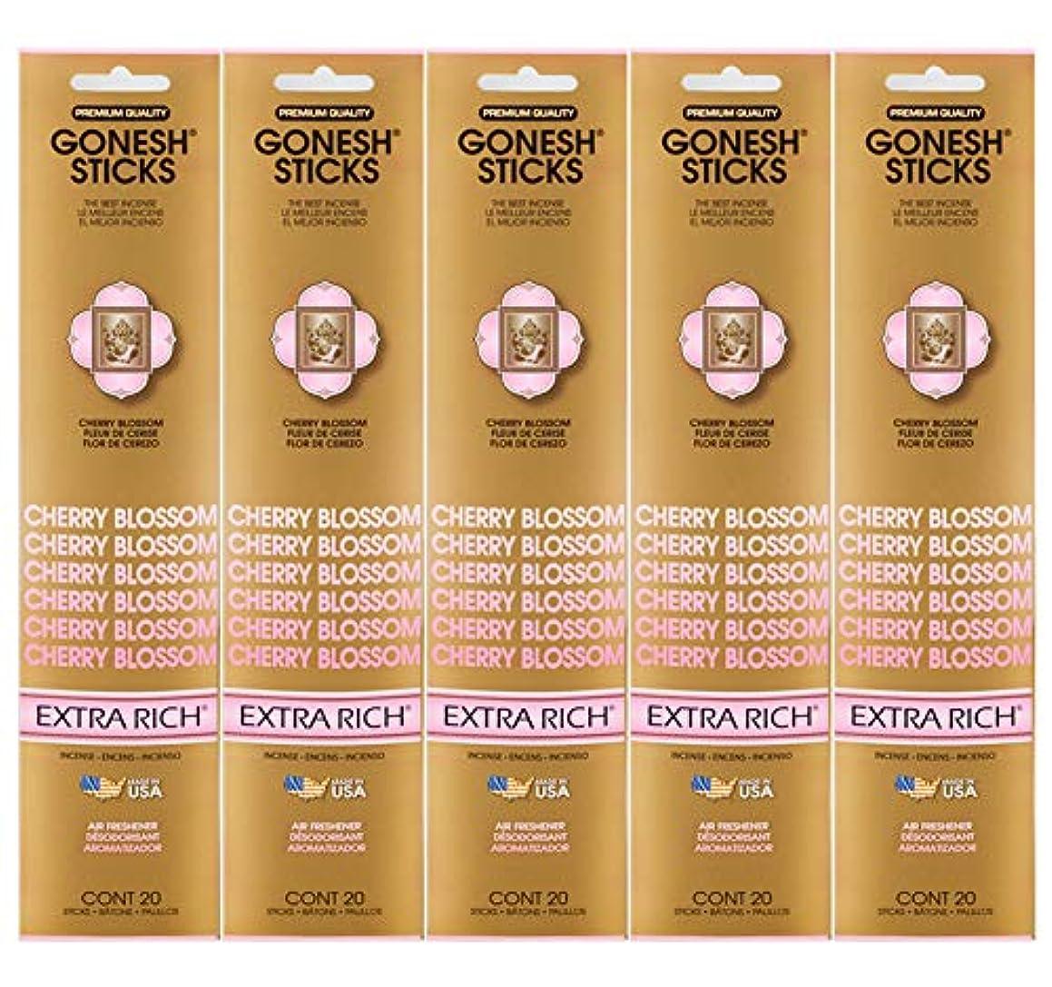 ミニチュア先例ジャンプするGonesh Incense Sticks Extra Richコレクション – Cherry Blossom 5パック(合計100 )