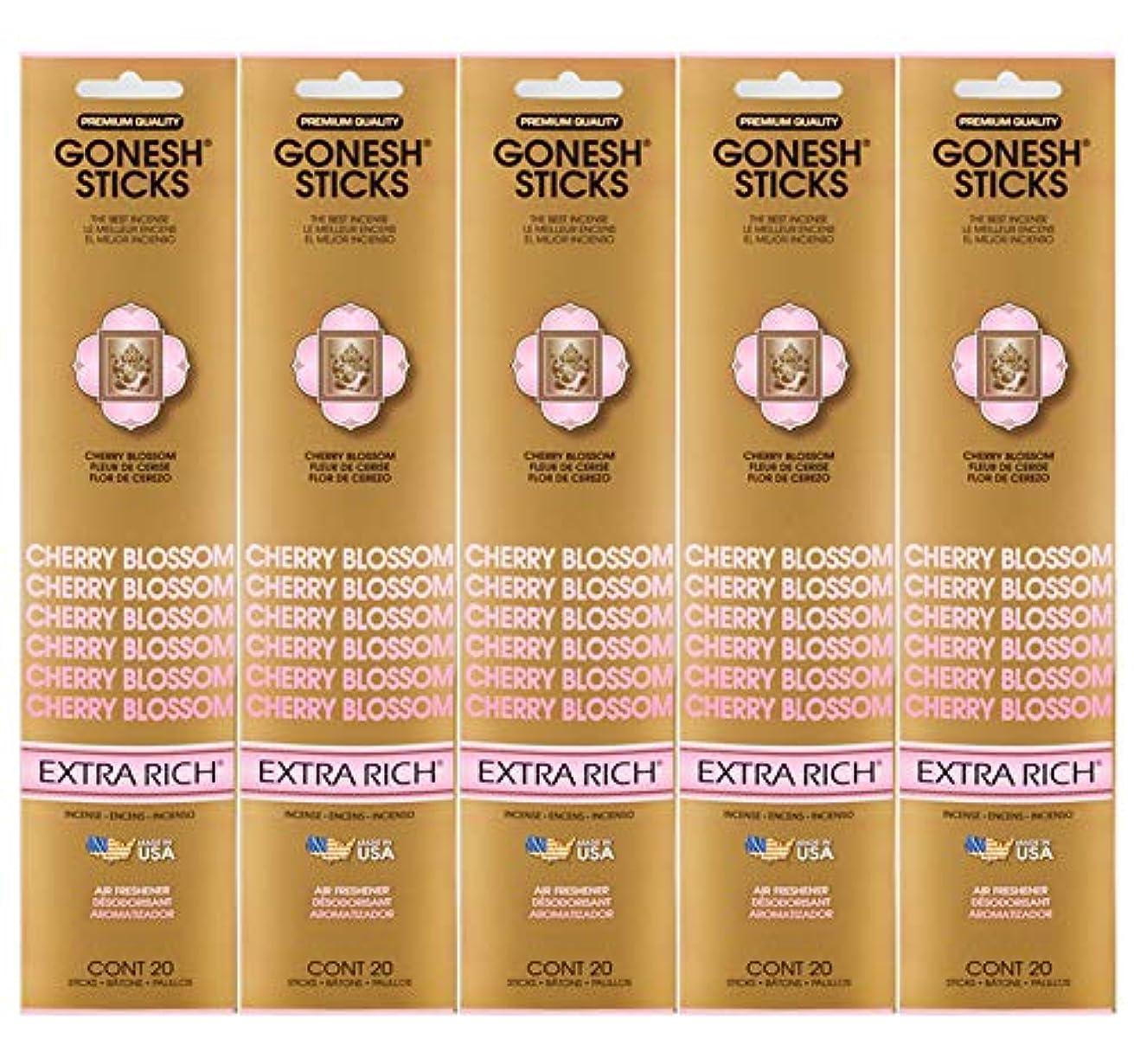 ベルト家庭教師行進Gonesh Incense Sticks Extra Richコレクション – Cherry Blossom 5パック(合計100 )