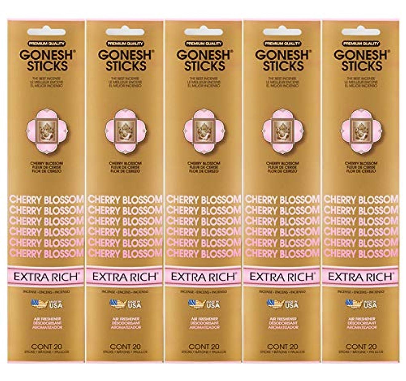 包帯散歩に行く実用的Gonesh Incense Sticks Extra Richコレクション – Cherry Blossom 5パック(合計100 )