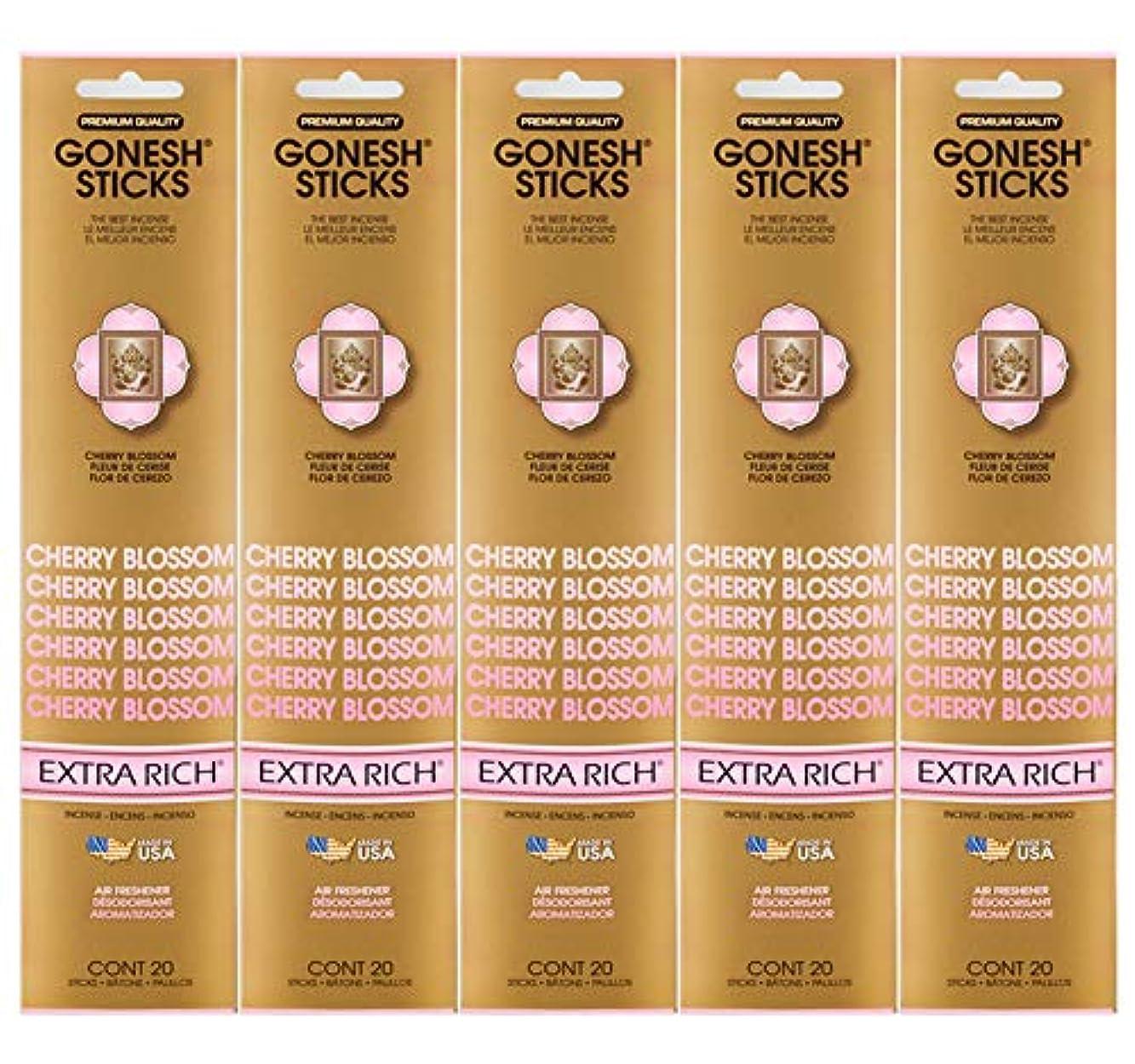 財産恵みクリアGonesh Incense Sticks Extra Richコレクション – Cherry Blossom 5パック(合計100 )