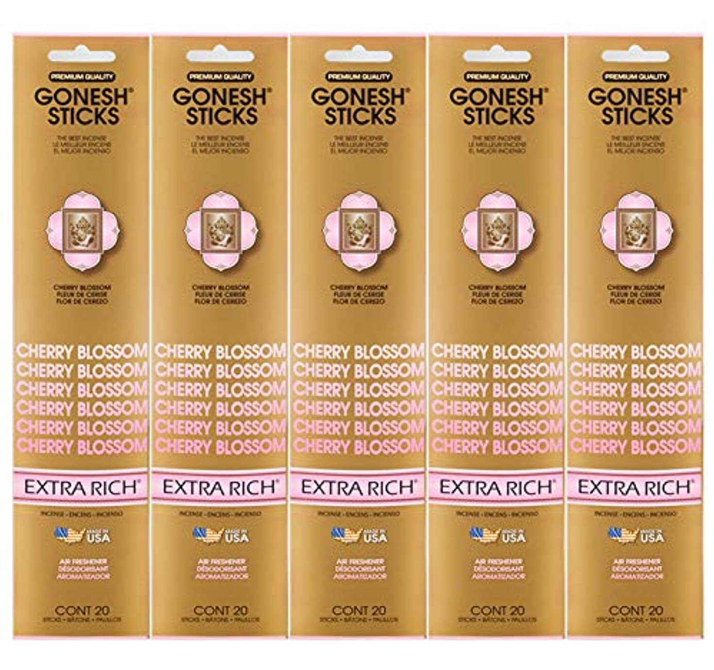 養うラテンサイクロプスGonesh Incense Sticks Extra Richコレクション – Cherry Blossom 5パック(合計100 )