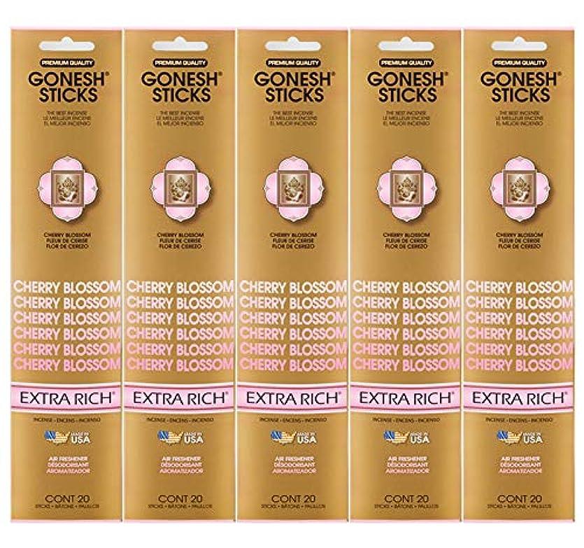 先東ティモール気候Gonesh Incense Sticks Extra Richコレクション – Cherry Blossom 5パック(合計100 )