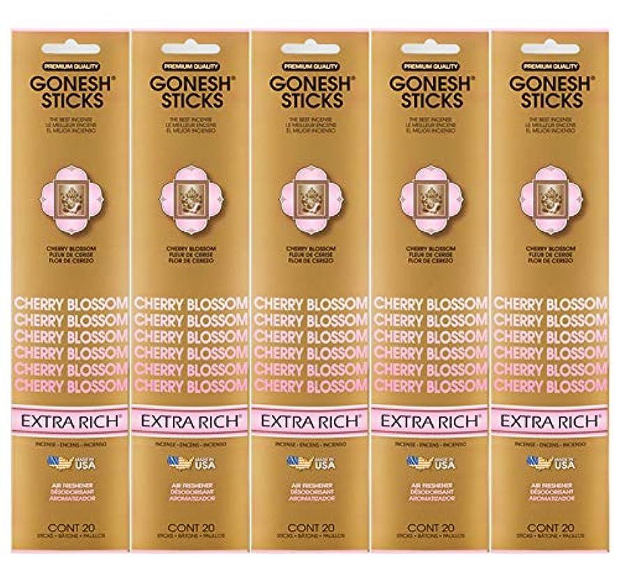 接触スイッチバクテリアGonesh Incense Sticks Extra Richコレクション – Cherry Blossom 5パック(合計100 )